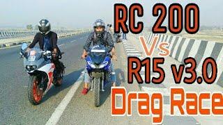 R15 v3 vs Rc 200 Drag Race | Top End | Highway Battle