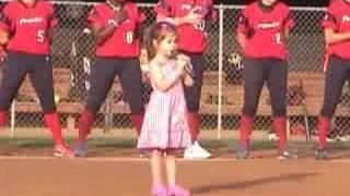 Kaitlyn Maher (4yo) sings National Anthem at Washington Glory game 7/26/08