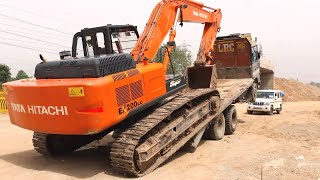 Amazing Video Tata Excavator unloading From Truck By Experience Driver | Tata Hitachi | Poclain