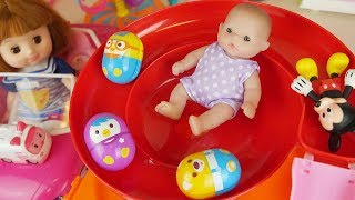 Baby doll car and slide park egg toys play