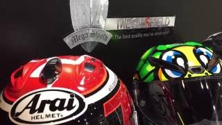 ข้อดีของการเคลือบแก้วหมวกกันน็อค Arai RX-7X Limited Edition Isle of Man TT 2016  #MEGA SHIELD