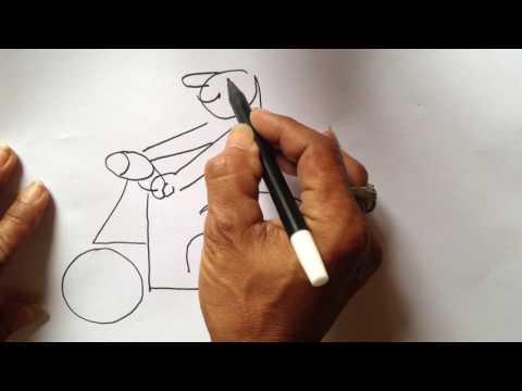 Cara Menggambar Vespa Dengan Angka 4 2 dan 9 untuk anak anak