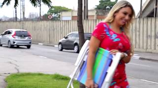 Super sexy blondes in hot bikini sunbathing at the bus stop and wives get mad
