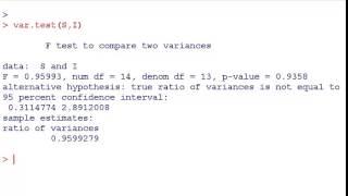 Statistics with R - F test for Equality of variances (var.test)