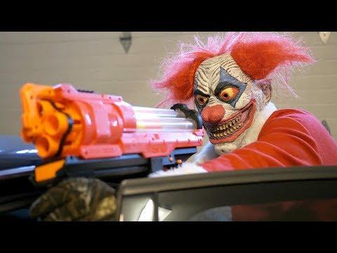 NERF War: Clown Claus!