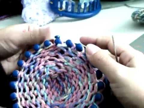 Como Empezar pantufla calcetin x punta telar azul parte2
