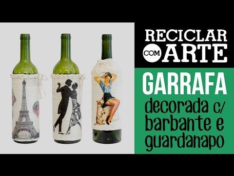 Garrafas decoradas com barbante Reciclar com Arte