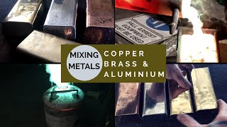 CASTING A HUGE GOLD  ALLOY INGOT FROM MIXING BRASS COPPER & ALUMINIUM - huge light gold bar