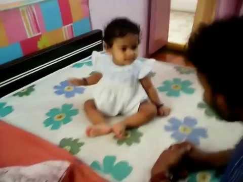 Cute baby Krishi  Jumping Japang with  Papa