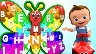 Baby Learning Alphabets Nursery Rhyme Colors with Wooden Butterfly Puzzle Toy Set for Kids Children
