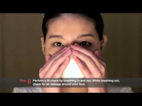 Six steps to wearing the N95 mask