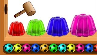 Learn Colors with WOODEN FACE HAMMER Xylophone JELLY Soccer Balls Colors for kids by HooplaKidz Edu!