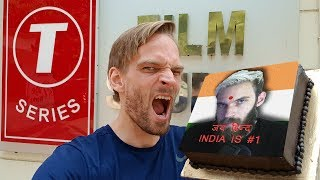 PewDiePie Delivers Cake to T-Series HQ in India *REAL*