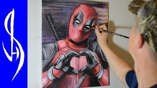 Painting Deadpool with Acrylic Paints on Canvas