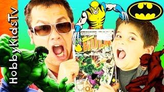 Superhero Toy Surprises! Comics Marvel X-Men + Hulk N'Batman Fun HobbyKidsTV