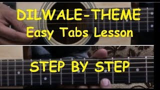 Janam Janam Lead/solo/intro/Dilwale theme Guitar tabs lesson (Step by Step)