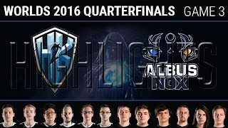 H2K vs Albus Nox Luna Game 3 Highlights, S6 Worlds 2016 Quarter final, H2K vs ANX G3