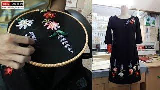 Hướng dẫn cách thêu hoa ruy băng trên váy | Thời Trang Thủy | Ribbon embroidery flowers