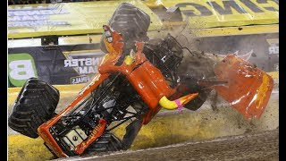 WOA! Girl Driver Unbelievable Slow Motion Crash El Toro Loco Becky McDonough Monster Jam Freestyle