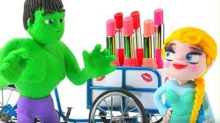 Frozen Elsa Buys New Lipstick w/ Hulk Play Doh Cartoons Stop Motion Movies