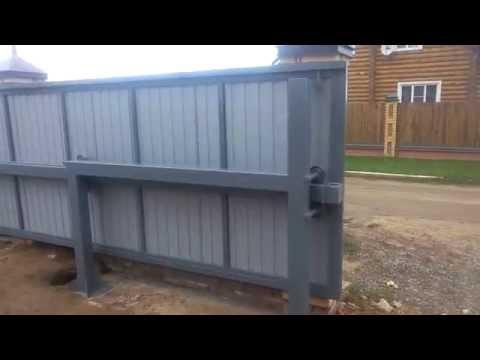 Ворота консольные откатные средней балкой своими руками