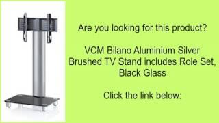 VCM Bilano Aluminium Silver Brushed TV Stand includes Role Set, Black Glass