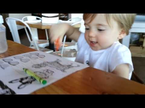 Bea's first good coloring at the Stray Dog.