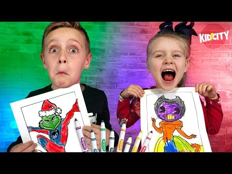 3 Marker Challenge RACE Bendy Lego Hello Neighbor Spider Grinch and More KIDCITY