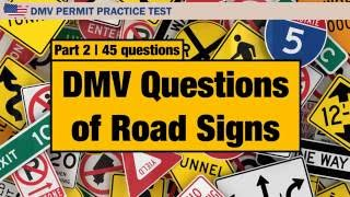 Driving license test: DMV Questions of Road Signs  Part 2