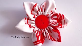 Download DIY: How to make a Kanzashi fabric flower hair clip. 3Gp Mp4