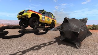 Giant Chain Spinner Destroying Cars - Beamng Drive