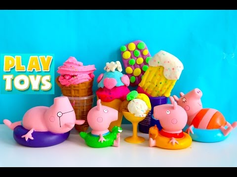 Peppa Pig Play doh ice cream on sunny vacation by the beach