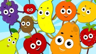 Ten Little Fruits Jumping On The Bed | Fruits Song | Learn Numbers With Fruits | Baby Songs