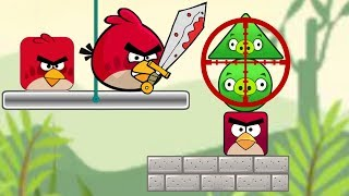 Angry Birds Piggies Out - KICK THE TRIANGLE PIG FALL DOWN!