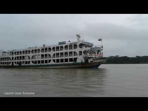 Kuakata 1 and Sundarban 9 leaving terminal together (কুয়াকাটা ১ ও সুন্দরবন ৯)