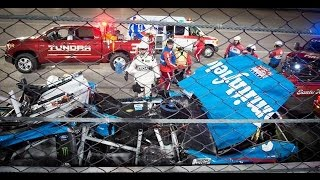 Aric Almirola hurt in big crash with Joey Logano and Danica Patrick