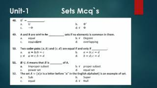 Math Chapter Sets Mcqs || Mcqs test of chapter Sets