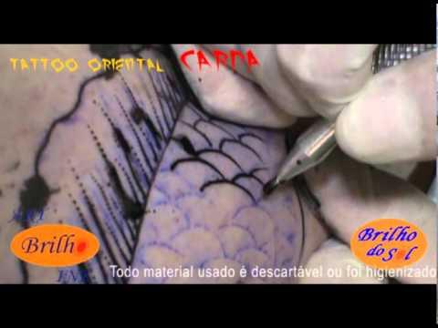 Art Brilho Ink Tattoo Carpa na perna Traço