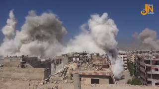 شاهد | مروع سقوط صواريخ الفيل بجانب مصور مكتب أخبار جوبر أثناء تغطيته قصف جوبر وبلدة  عين ترما