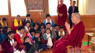 Group of Bhutanese devotees presented song to His Holiness the Dalai Lama.
