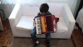 Criança de seis anos tocando GAITA DE TECLADO.