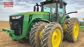 John Deere 8400R Tractor Planting Corn