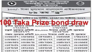100 taka prizebond draw 31 October 2017