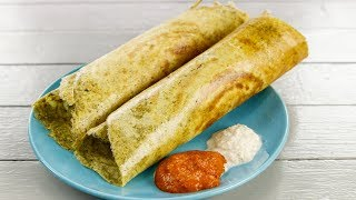 Pesarattu Recipe - Crispy and Healthier No Fermentation Moong Dal Dosa - CookingShooking