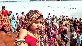 Mother Sister girl wife completing Ganga snan (bath) before shiv chaturthy