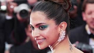 Deepika Padukone in Thigh High Slit Green Gown At Cannes Red Carpet 2017
