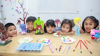 Kids Go To School | Chuns Learn Painting Statue With Friends Children