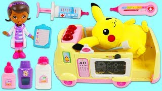 Pokemon PIKACHU Gets Sick and Visits Disney Jr Doc McStuffins Pet Vet Toy Hospital Ambulance!