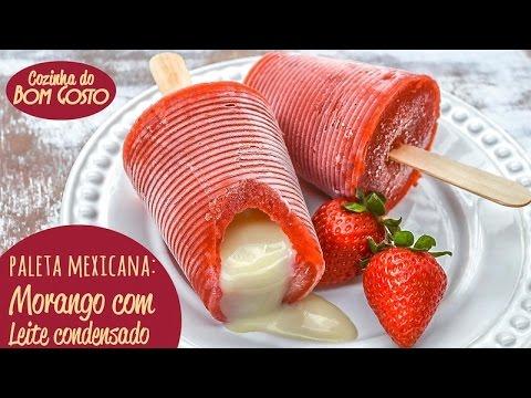 Paleta Mexicana Caseira com Copos Descartáveis Morango com Leite Condensado Cozinha do Bom Gosto