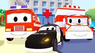 Mobil patroli: Truk Pemadam Kebakaran dan Mobil Polisi dan Ambulans di Kota Mobil | Kartun Mobil